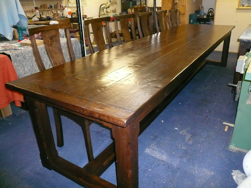 Langford fivehead 14 seater oak refectory tables quercus for 14 seater dining table