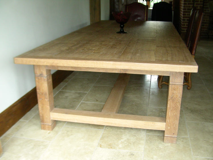 16 seater handmade refectory kitchen table in white oak for Handmade kitchen table