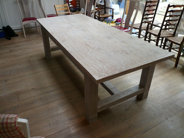 lime washed handmade oak refectory dining table with matching chairs