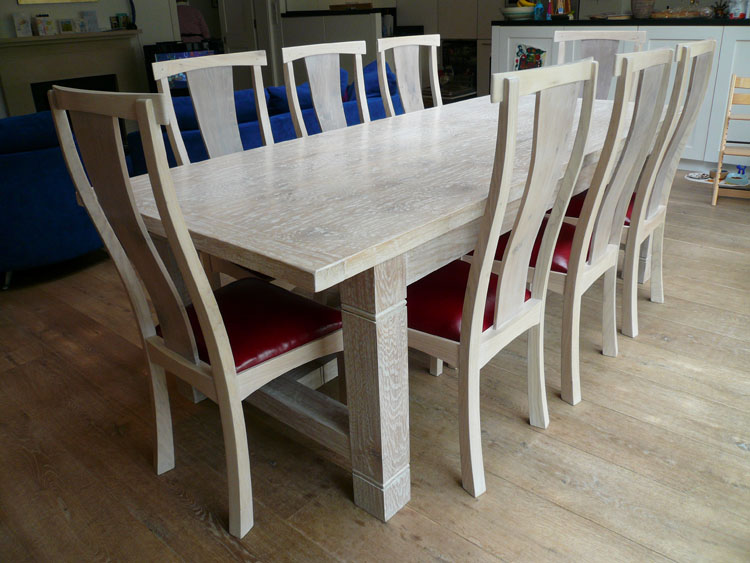 Lime Washed Handmade Oak Refectory Dining Table U0026 Chairs