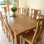 Large Pippy Oak Dining Table and Chairs