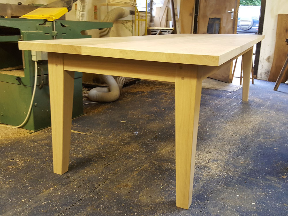 Bespoke White Oak Handmade Dining Table in work shop