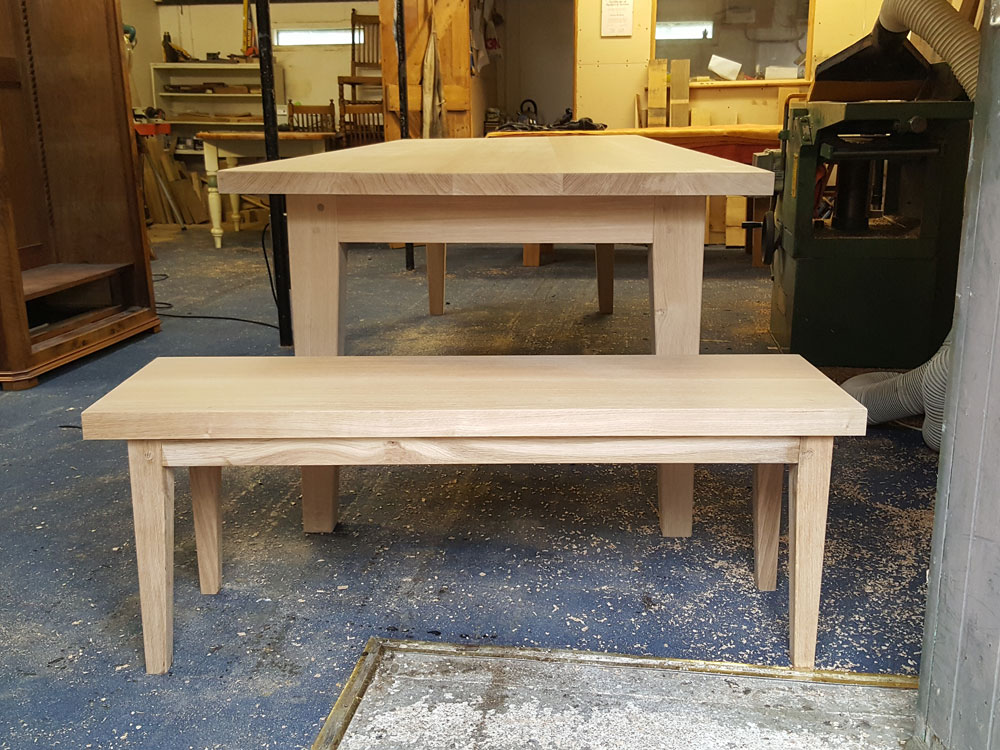 Bespoke Handmade Oak Dining Table with matching bench