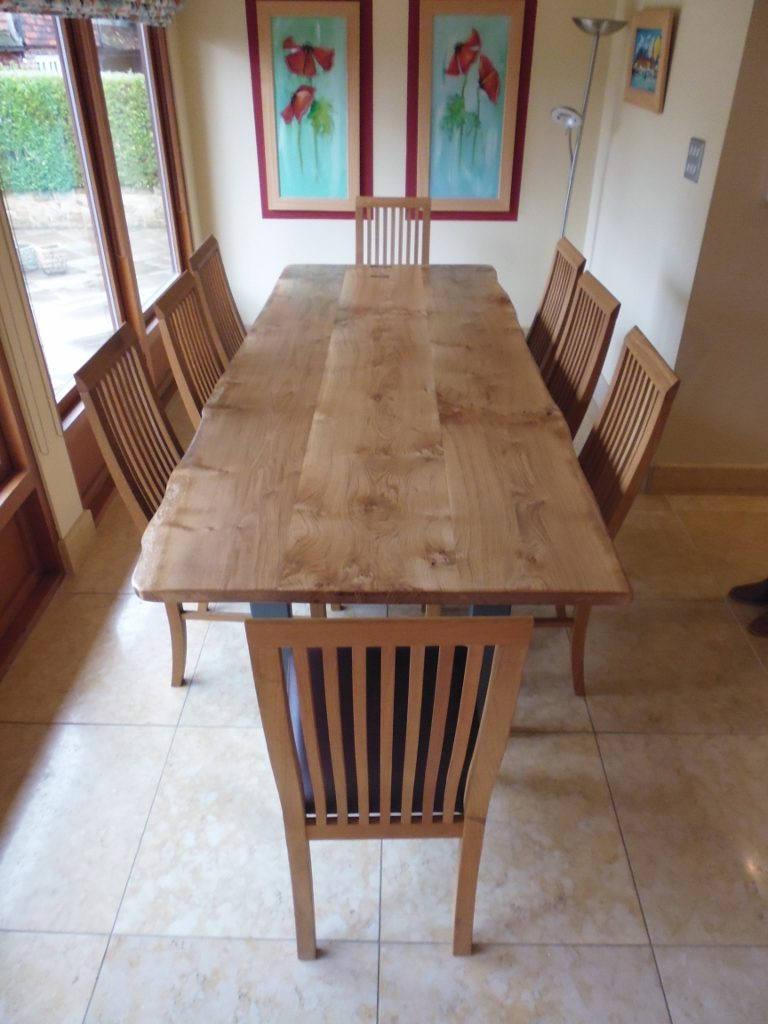 Share This Butterfly Jointed Oak Top Handmade Dining Table