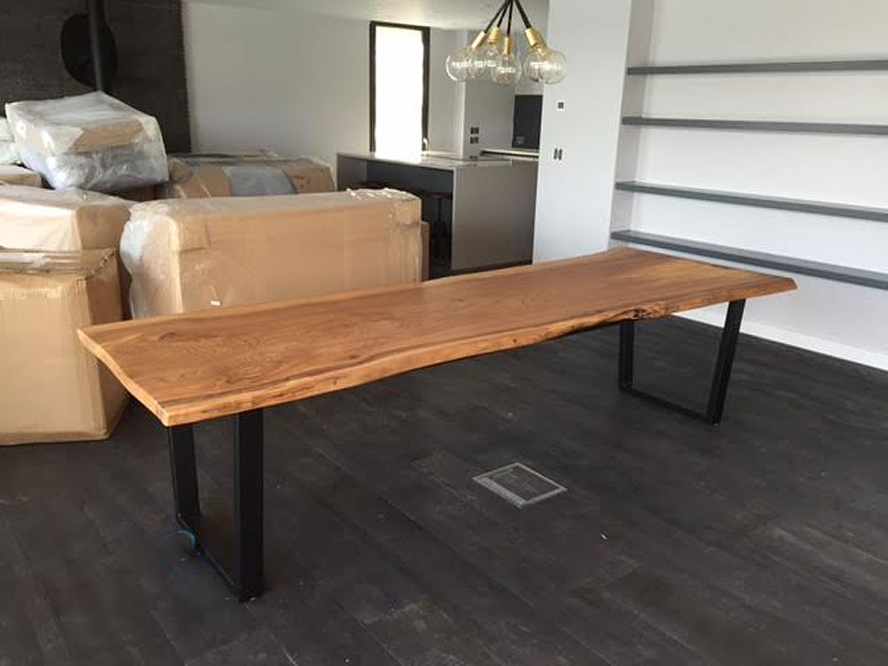 Large Elm Bespoke Handmade Waney Edge Slab Dining Table
